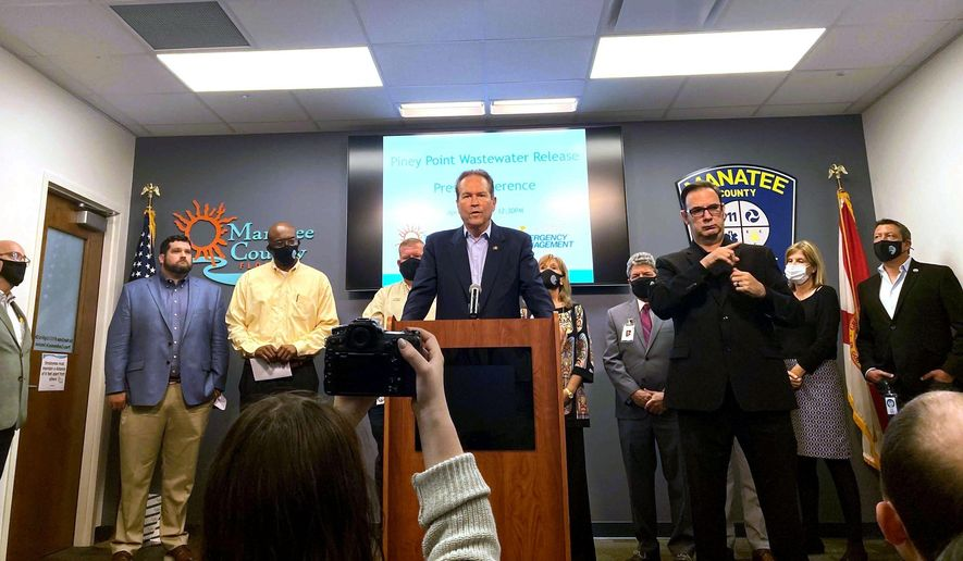 U.S. Rep. Vern Buchanan, R-Sarasota, addresses the media Monday, April 5, 2021 about the crisis at the former Piney Point phosphate plant, along with Manatee County officials. (Zachary T. Sampson/Tampa Bay Times via AP) ** FILE **