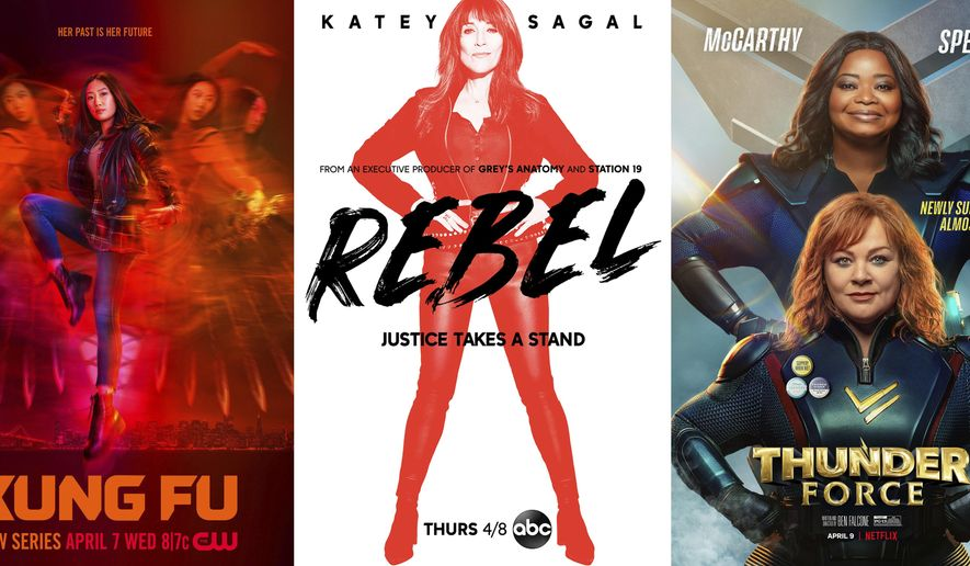 """This combination of photos shows promotional art for """"Kung Fu,"""" a TV series premiering April 7 on The CW, left, """"Rebel,"""" a TV series premiering April 8 on ABC, center, and the film """"Thunder Force,"""" a comedy premiering April 9 on Netflix. (The CW/ABC/Netflix via AP)"""