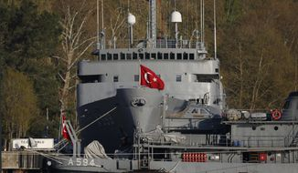 FILE-In this Thursday, April 27, 2017 file photo, Turkish Navy vessels are docked at a port base in the Bosporus strait, in the outskirts of Istanbul, close to the Black Sea. Turkish authorities on Monday, April 5, 2021, detained 10 former admirals after a group of more than 100 retired top navy officers issued a statement that government officials tied to Turkey's history of military coups. (AP Photo/Lefteris Pitarakis, File)