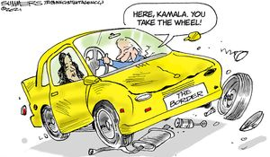 Here Kamala. You take the wheel!
