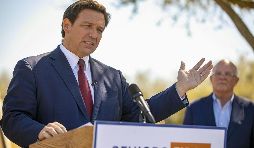 Media coverage of Florida Gov. Ron DeSantis, a Republican, has usurped coverage of the migrants at the southwest border. (Associated Press)