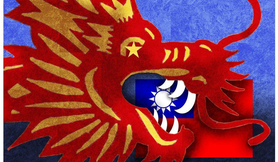 Illustration on China and Taiwan by Alexander Hunter/The Washington Times