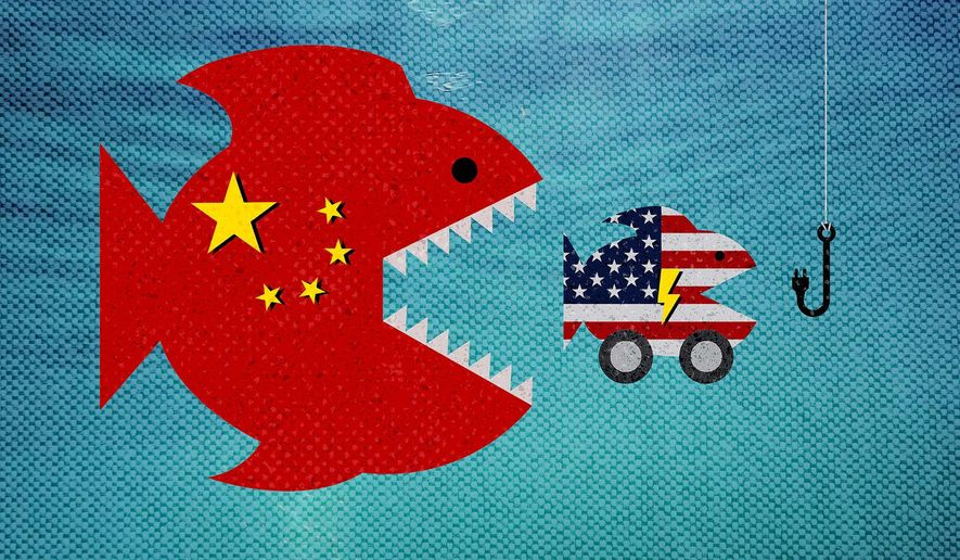China and U.S. - Fish Eat Car Illustration by Greg Groesch/The Washington Times