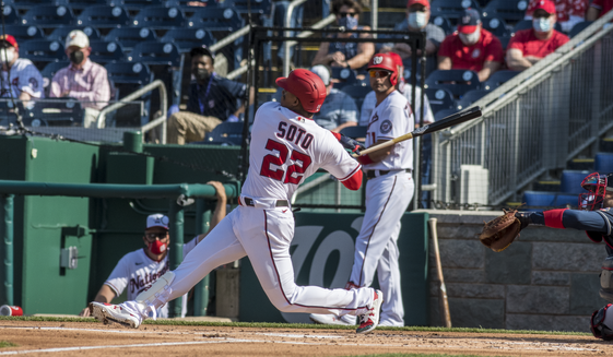 Juan Soto hit a walk-off single in the ninth to give the Nationals a 6-5 win against the Braves on opening day Tuesday. (Courtesy of All-Pro Reels)