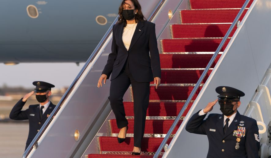 Vice President Kamala Harris exits Air Force Two, Tuesday, April 6, 2021, on arrival at Andrews Air Force Base, Md., as she returns to Washington from Chicago. (AP Photo/Jacquelyn Martin)
