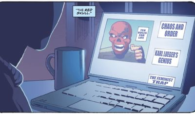 """Author Jordan B. Peters of """"12 Rules for Life"""" and """"Beyond Order"""" is likened to Marvel's """"Red Skull"""" in the latest issue of """"Captain America,"""" April 2021. (Image: Marvel Comics, Captain America 28, Digital Edition screenshot)"""