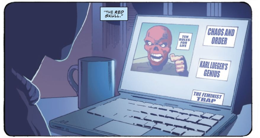 "Author Jordan B. Peters of ""12 Rules for Life"" and ""Beyond Order"" is likened to Marvel's ""Red Skull"" in the latest issue of ""Captain America,"" April 2021. (Image: Marvel Comics, Captain America 28, Digital Edition screenshot)"