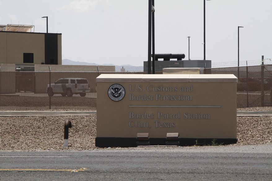 FILE - In this Wednesday, June 26, 2019, file photo is the entrance to the Border Patrol station in Clint, Texas. Texas and Louisiana sued the federal government Tuesday, April 6, 2021, alleging immigration authorities have declined to take custody of people who have been convicted of crimes and could be subject to deportation. (AP Photo/Cedar Attanasio, File)