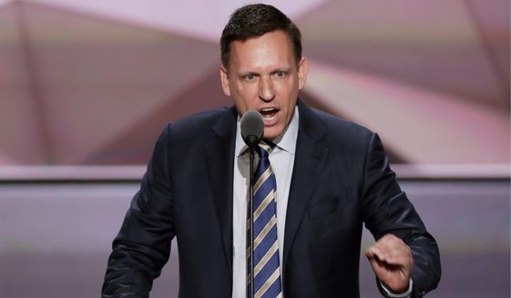 Entrepreneur Peter Thiel says China has created a mass surveillance state and leaders in Silicon Valley should view the regime as adversarial. (Associated Press)