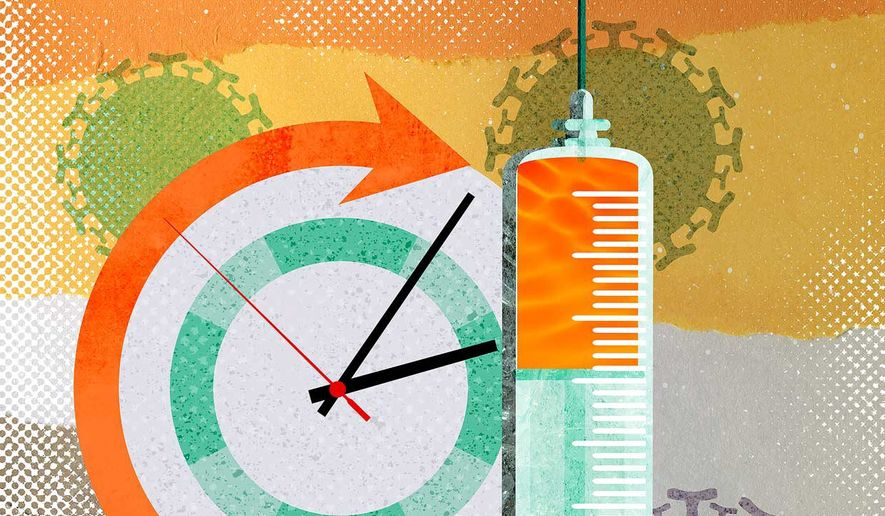 AstraZeneca Vaccine Time Illustration by Greg Groesch/The Washington Times