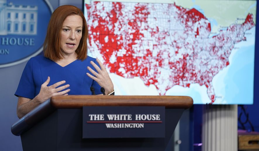 White House press secretary Jen Psaki speaks during a press briefing at the White House, Wednesday, April 7, 2021, in Washington. (AP Photo/Evan Vucci)