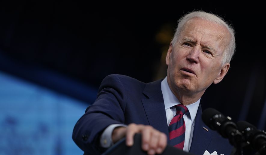 President Joe Biden speaks during an event on the American Jobs Plan in the South Court Auditorium on the White House campus, Wednesday, April 7, 2021, in Washington. (AP Photo/Evan Vucci) ** FILE **