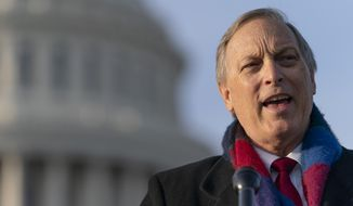 In this Dec. 3, 2020, photo, Rep. Andy Biggs, Arizona Republican and Freedom Caucus chairman, speaks on Capitol Hill in Washington. (AP Photo/Jacquelyn Martin) **FILE**
