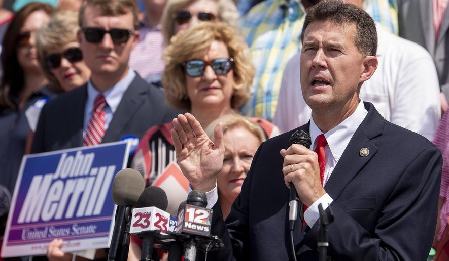 FILE - In this Tuesday June 25 , 2019, file photo, Secretary of State John Merrill announces that he is running for the U.S. Senate during a news conference at the State Capital Building in Montgomery, Ala. Merrill said Wednesday, April 7, 2021, that he will not run for any elected office the following year because of poor choices he made that impacted his family. (Mickey Welsh/The Montgomery Advertiser via AP, File)