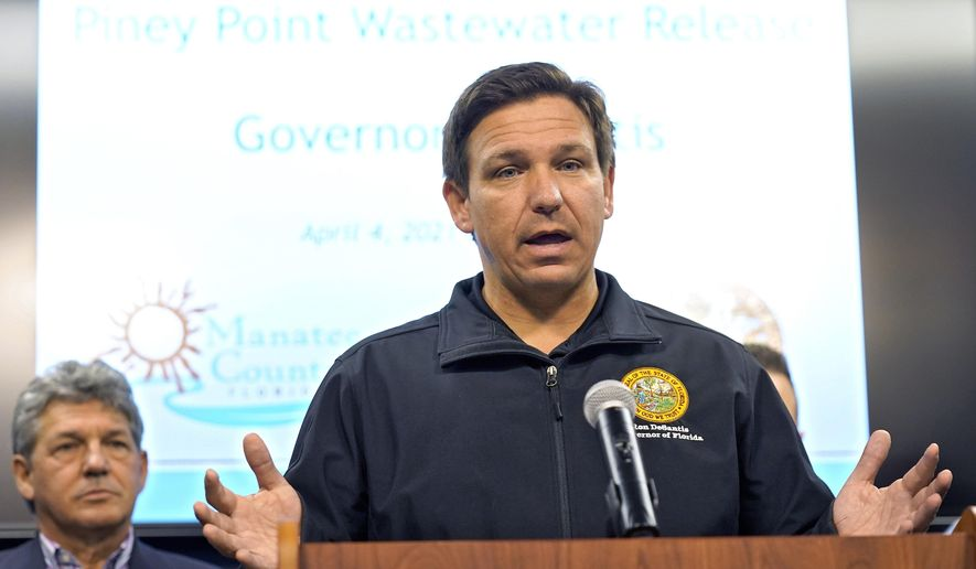 Florida Gov. Ron DeSantis gestures during a news conference Sunday, April 4, 2021, at the Manatee County Emergency Management office in Palmetto, Fla. DeSantis has received a single-dose coronavirus vaccine. His office confirmed Wednesday, April 7, 2021 that the Republican governor got the Johnson & Johnson vaccine, which requires only a single dose. (AP Photo/Chris O'Meara, file)