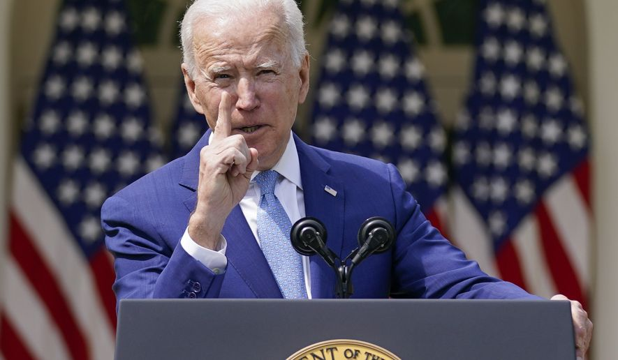 President Joe Biden speaks about gun violence prevention in the Rose Garden at the White House, Thursday, April 8, 2021, in Washington. (AP Photo/Andrew Harnik)