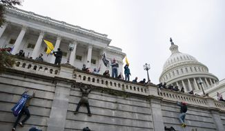Support of President Donald Trump climb the west wall of the the U.S. Capitol on Wednesday, Jan. 6, 2021, in Washington. (AP Photo/Jose Luis Magana)