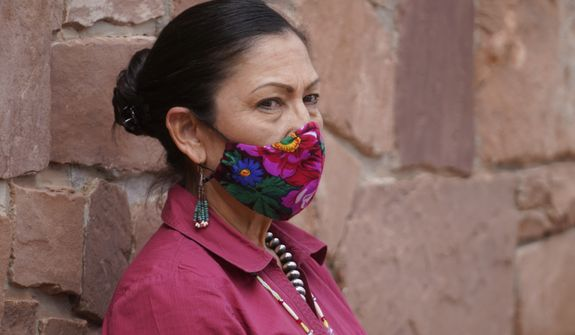 U.S. Interior Secretary Deb Haaland looks on during a news conference following a visit to Bears Ears National Monument Thursday, April 8, 2021, in Blanding, Utah. (AP Photo/Rick Bowmer)