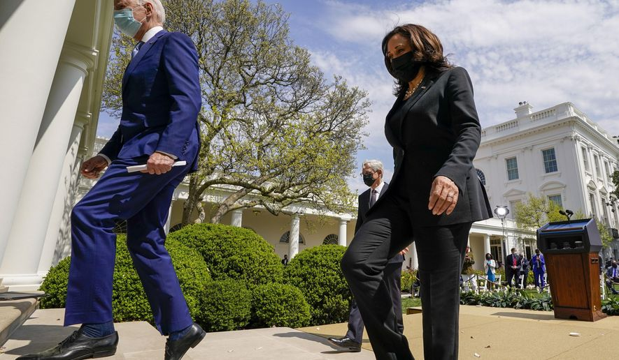 President Joe Biden, accompanied by Vice President Kamala Harris, right, and Attorney General Merrick Garland, second from right, departs after speaking about gun violence prevention in the Rose Garden at the White House, Thursday, April 8, 2021, in Washington. (AP Photo/Andrew Harnik)
