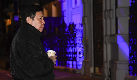 Kyaw Zwar Minn, the Myanmar ambassador, stands outside the Myanmar Embassy in London, Wednesday, April 7, 2021. Newspaper reports say the embassy was taken over by members of the country's new military regime Wednesday evening. (AP Photo/Alberto Pezzali)