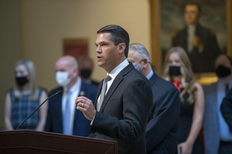 Lt. Gov. Geoff Duncan speaks during a news conference held by Gov. Brian Kemp at the Georgia State Capitol in Atlanta, Monday, March 22, 2021. (Alyssa Pointer/Atlanta Journal-Constitution via AP)