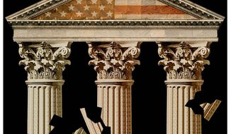 Illustration on institutional failures in America by Alexander Hunter/The Washington Times