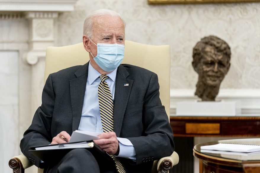 President Joe Biden speaks as he gets his weekly economic briefing in the Oval Office of the White House, Friday, April 9, 2021, in Washington. (AP Photo/Andrew Harnik) **FILE**