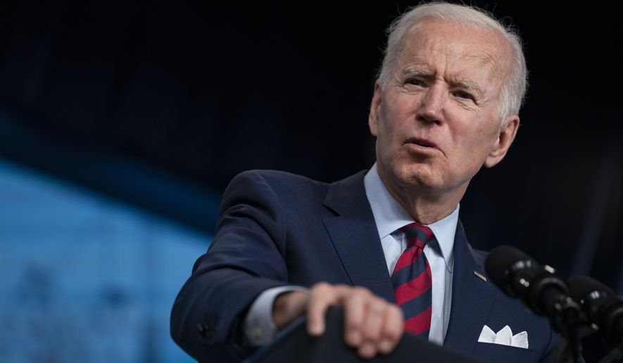 In this April 7, 2021, file photo President Joe Biden speaks during an event on the American Jobs Plan in the South Court Auditorium on the White House campus in Washington. (AP Photo/Evan Vucci, File)