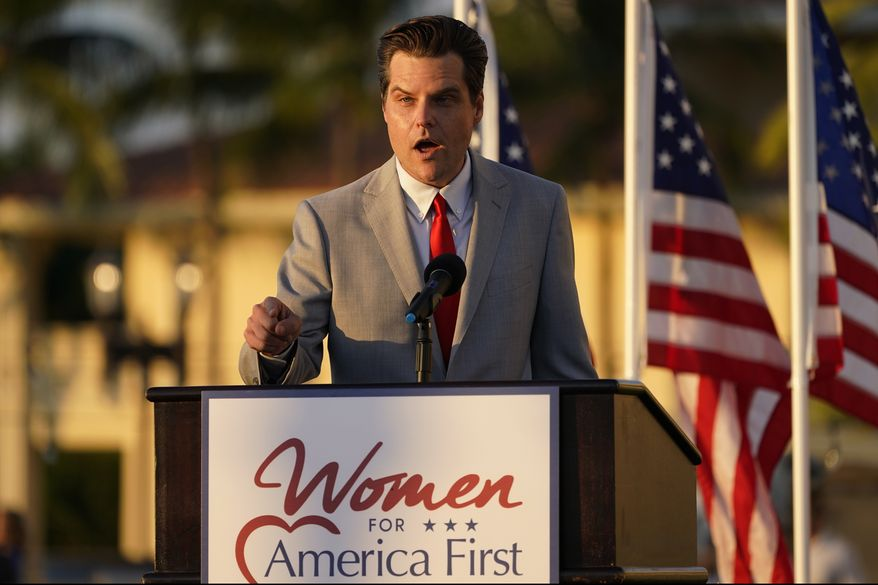 """Congressman Matt Gaetz, R-Fla., speaks at """"Women for American First"""" event, Friday, April 9, 2021, in Doral, Fla. The House Ethics Committee has opened an investigation of Rep. Gaetz, citing reports of sexual and other misconduct by the Florida Republican. (AP Photo/Marta Lavandier)"""