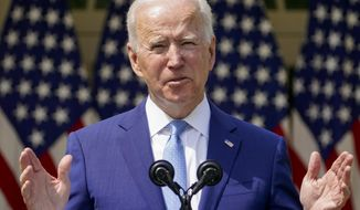 FILE - In this April 8, 2021, file photo President Joe Biden speaks about gun violence prevention in the Rose Garden at the White House in Washington. Biden released a $1.5 trillion wish list for the federal budget on Friday, asking for an 8.4% increase in agency operating budgets with substantial gains for Democratic priorities like education, health care, housing and environmental protection. (AP Photo/Andrew Harnik, File)