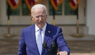 President Joe Biden speaks about gun violence prevention in the Rose Garden at the White House, Thursday, April 8, 2021, in Washington. (AP Photo/Andrew Harnik)