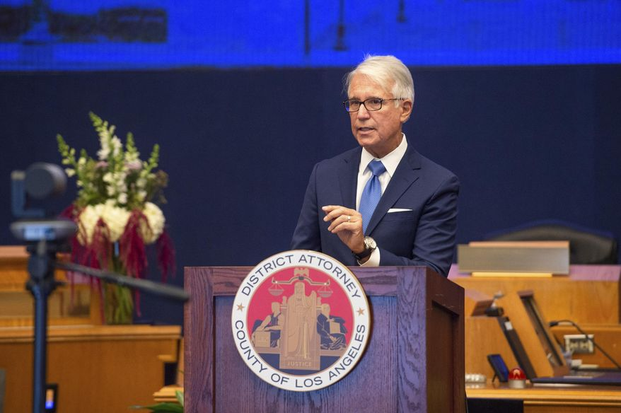 In this undated file photo provided by the County of Los Angeles, incoming Los Angeles County District Attorney George Gascon speaks after he was sworn in a virtual ceremony in downtown Los Angeles. (Bryan Chan/County of Los Angeles via AP, File)
