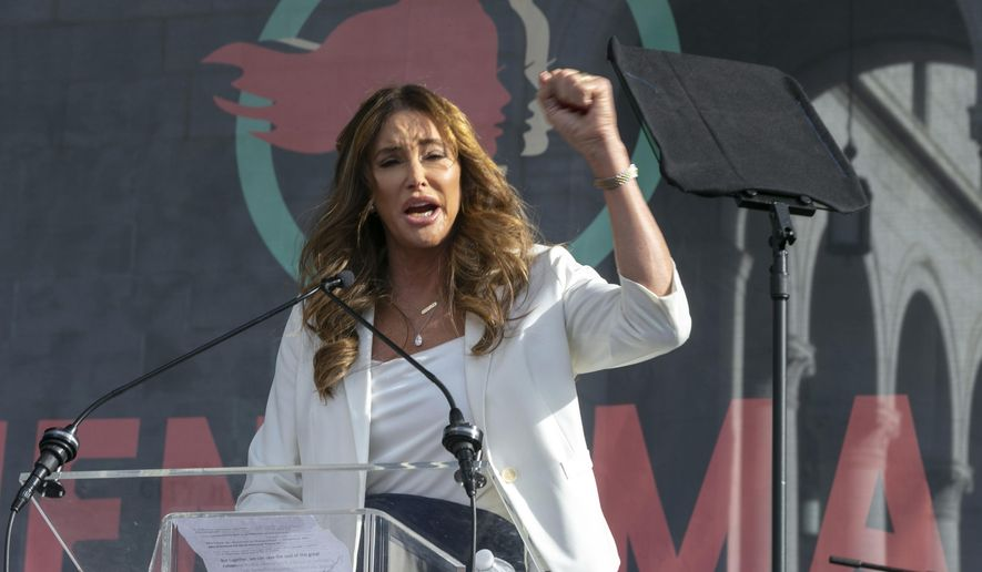 In this Jan. 18, 2020, file photo Caitlyn Jenner speaks at the 4th Women's March in Los Angeles. (AP Photo/Damian Dovarganes, File)