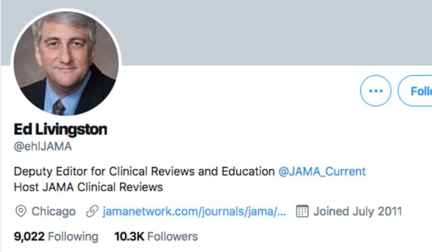 Dr. Edward H. Livingston, a deputy editor at the Journal of the American Medical Association, is out of a job after criticizing the concept of structural racism in the healthcare field during a February podcast. (Twitter.com/ehlJAMA)