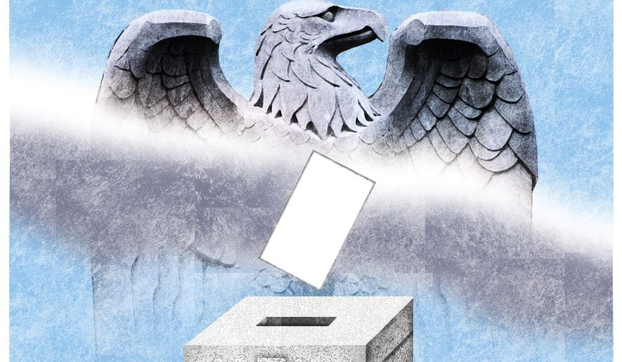 Illustration on state versus federal control of elections by Alexander Hunter/The Washington Times