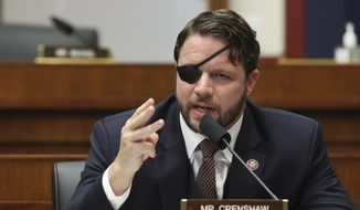 In this Sept. 17, 2020 file photo, Rep. Dan Crenshaw, R-Texas, questions witnesses during a House Committee on Homeland Security hearing on 'worldwide threats to the homeland' on Capitol Hill Washington. (Chip Somodevilla/Pool via AP, File)