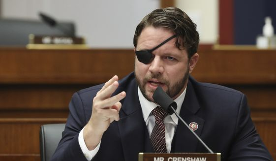 In this Sept. 17, 2020, file photo, Rep. Dan Crenshaw, R-Texas, questions witnesses during a House Committee on Homeland Security hearing. (Chip Somodevilla/Pool via AP, File)