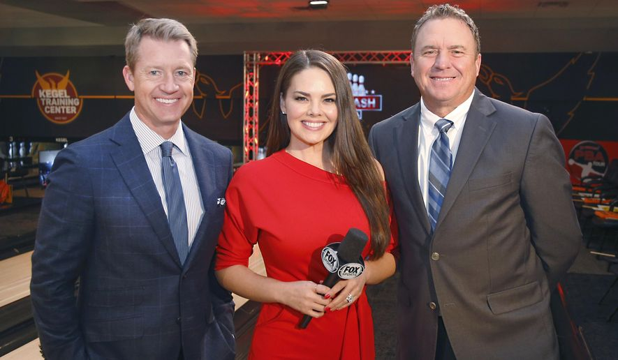 In a photo provided by Fox Sports, Rob Stone, Kimberly Pressler and Randy Pedersen, from left, pose for a photo in December 2018 in Lake Wales, Fla. The three have been calling PBA Bowling on Fox since 2018. Fox Sports and the Professional Bowlers Association have made the most of their partnership, which is in its fourth year. Going into this weekend's U.S. Open, which is the fifth and final major of the season, ratings on Fox and FS1 continue to hold steady at a time when other sports have experienced huge drops the past year due to the coronavirus pandemic. (Reinhold Matay/Fox Sports via AP)