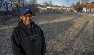 Eugenia Alexander is planning to build a creative green safe space for the community serving the city of East Saint Louis at the intersection of Trendley Ave. and 11th St. (Derik Holtmann/Belleville News-Democrat via AP)