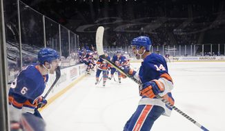 New York Islanders' Ryan Pulock (6) celebrates with teammate Travis Zajac (14) after scoring the winning goal during the overtime period of an NHL hockey game against the New York Rangers, Sunday, April 11, 2021, in Uniondale, N.Y. (AP Photo/Frank Franklin II)