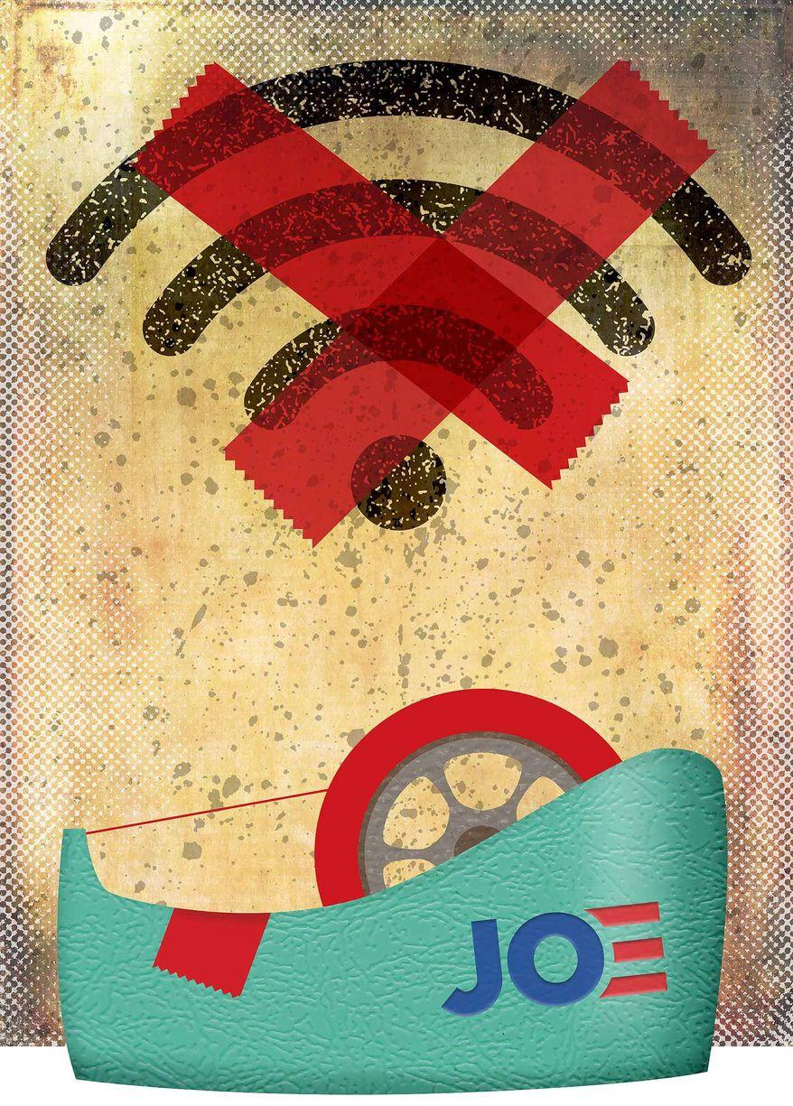 Joe Biden's Broadband Plan and New Red Tape Illustration by Greg Groesch/The Washington Times