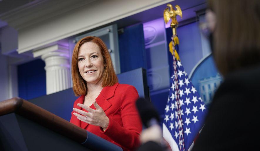 White House press secretary Jen Psaki speaks during a press briefing at the White House, Monday, April 12, 2021, in Washington. (AP Photo/Patrick Semansky)