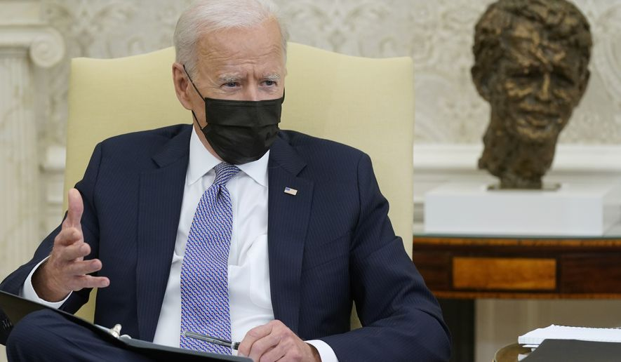 President Joe Biden speaks during a meeting with lawmakers to discuss the American Jobs Plan in the Oval Office of the White House, Monday, April 12, 2021, in Washington. (AP Photo/Patrick Semansky)