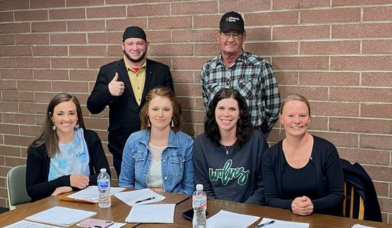 Village of Hayes Center Board of Trustees at meeting April 6, 2021. (Front row, left to right): Sarah Rosno, Nikki Hamilton, Alicia Richards, Kim Primavera; (back row, left to right): Right to Life East Texas director Mark Lee Dickson and trustee Tracy Neverve. (Photo by Cindy McKillup courtesy Mark Lee Dickson)