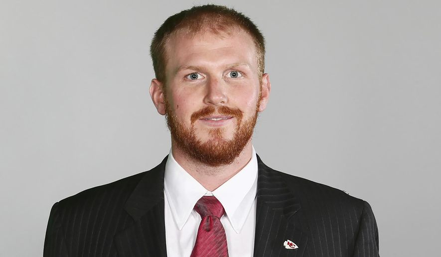FILE- In a June 20, 2016 file photo, Kansas City Chiefs assistant coach Britt Reid is shown. Reid has been charged with driving while intoxicated after a crash that critically injured a 5-year-old girl. Jackson County prosecutors announced the charges Monday, April 12, 2021, against Reid, the son of Chiefs Coach Andy Reid. Prosecutors allege Reid was driving about 84 mph and had a blood-alcohol level of .113 about a half-hour after the crash near Arrowhead Stadium on Feb. 4. Police say his truck slammed into two cars stopped along an entrance ramp to Interstate 435 near the Chiefs' training facility. Five-year-old Ariel Young, who was in one of the cars, suffered a traumatic brain injury. (AP Photo)