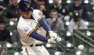 Milwaukee Brewers' Luis Urias hits a three-run scoring double during the sixth inning of a baseball game against the Chicago Cubs Monday, April 12, 2021, in Milwaukee. (AP Photo/Morry Gash)