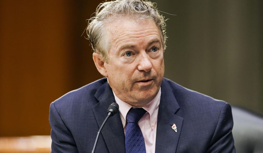 In this March 23, 2021, photo, Sen. Rand Paul, R-Ky., speaks during a a Senate Foreign Relations Committee hearing on Capitol Hill in Washington. (Greg Nash/Pool via AP)