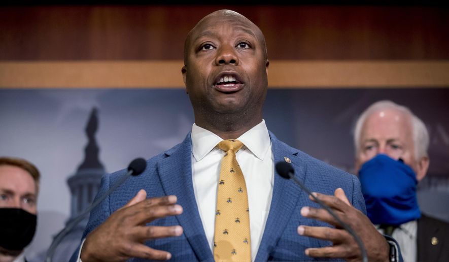 In this June 17, 2020, photo, Sen. Tim Scott, R-S.C., speaks at a news conference on Capitol Hill in Washington. (AP Photo/Andrew Harnik) **FILE**