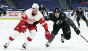 Detroit Red Wings right wing Anthony Mantha (39) gets around Tampa Bay Lightning defenseman Cal Foote (52) during the third period of an NHL hockey game Saturday, April 3, 2021, in Tampa, Fla. (AP Photo/Chris O'Meara) **FILE**