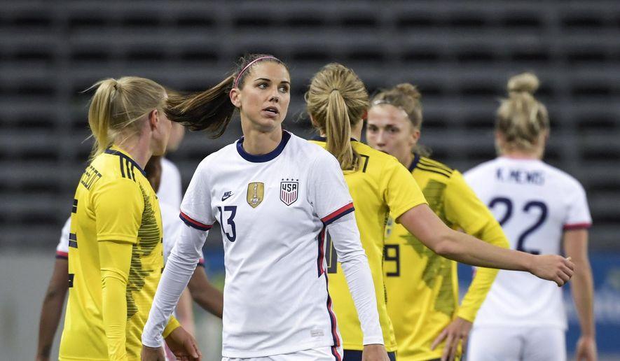 USA's Alex Morgan looks on, after the women's international friendly soccer match between Sweden and USA at Friends Arena in Stockholm, Sweden, Saturday, April 10, 2021. (Janerik Henriksson/TT via AP)  **FILE**